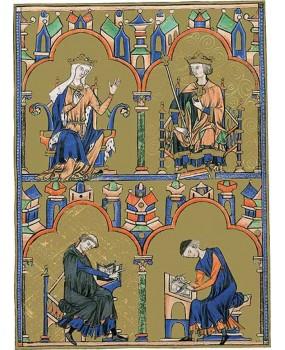 Pasta com 2 lâminas da Bíblia de São Luís: Rainha Blanca de Castela e São Luís